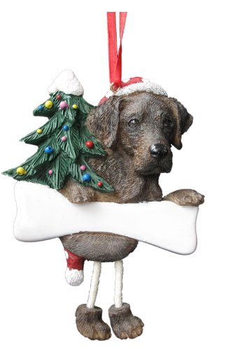 "Chocolate Labrador Ornament with Unique ""Dangling Legs"" Hand Painted and Easily Personalized Christmas Ornament"