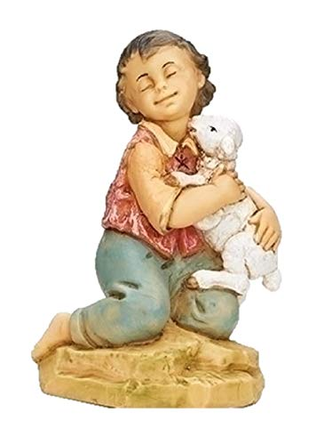 Fontanini 52928 Bavid Kneeling Boy with Sheep Nativity Figurine 12″ Scale