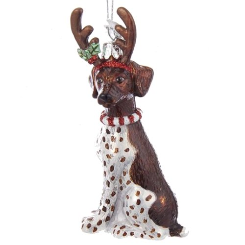 Noble Gems German Shorthaired Pointer with Antlers Glass Ornament