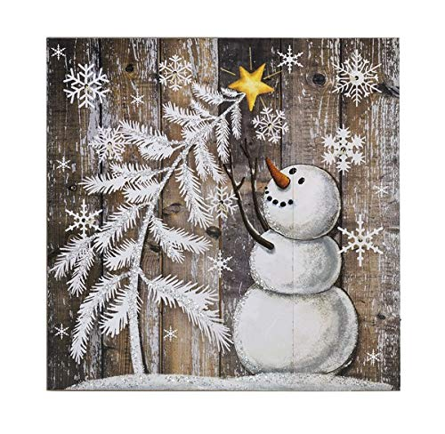 Ganz Snowman Tree Light Up Christmas Box Plaque Home Decor,Multicolored