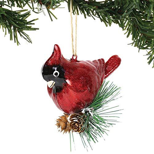 Department 56 Magnolia Garden Glass Cardinal Hanging Ornament, 4.33 Inch, Multicolor