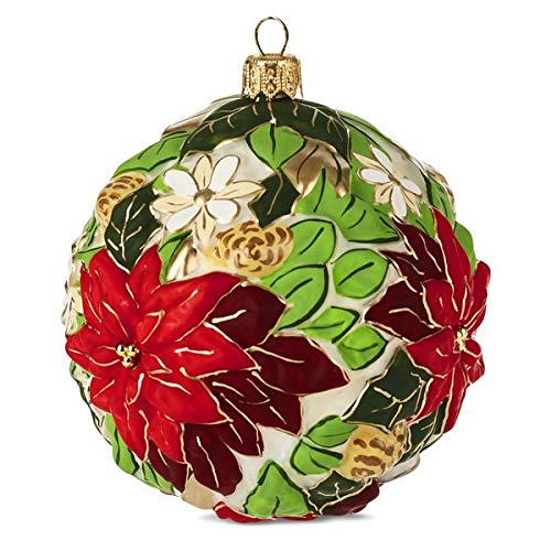 HMK Hallmark 2999HDR1590 Poinsettia Ball Blown Glass Ornament