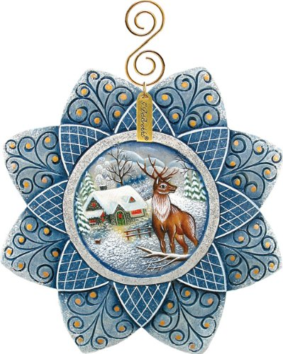 G.DEBREKHT / RUSSIAN GIFT Stag Snowfall – Russian Hand Crafted Hand Painted Folk Art 610219-GDB