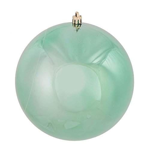 Vickerman N591044DSV Shiny Ball Ornaments with Shatterproof UV Resistant, Pre-drilled cap Secured & 6″ of Green Floral Wire in 6 per bag, 4″, Seafoam