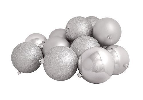 16ct Silver Splendor Shatterproof 4-Finish Christmas Ball Ornaments 3″ (75mm)