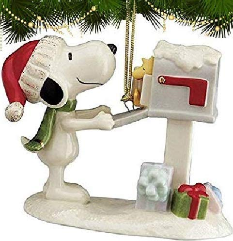 Lenox Peanuts Letter to Santa Snoopy and Woodstock Ornament New in box
