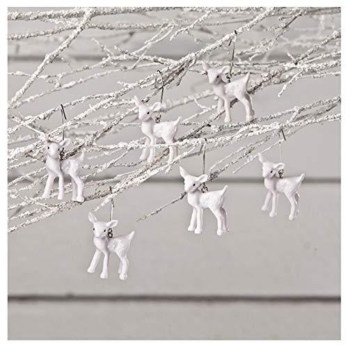 Bethany Lowe Set/6 White Deer Fawn Christmas Tree Ornaments Retro Vintage Decor