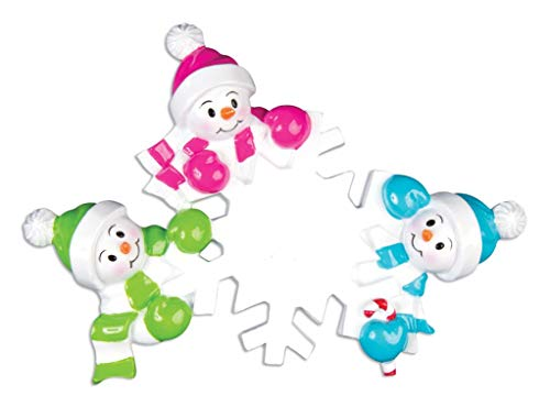 Polar X Falling Snowmen Family of 3 Personalized Christmas Ornaments (Family Series)