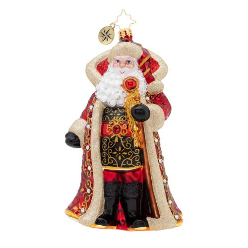 Christopher Radko Hand-Crafted European Glass Christmas Decorative Figural Ornament, Illustrious Santa