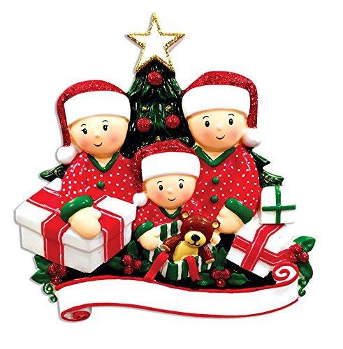 Family Series Opening presents Family of 3 Personalized Christmas Tree Ornament