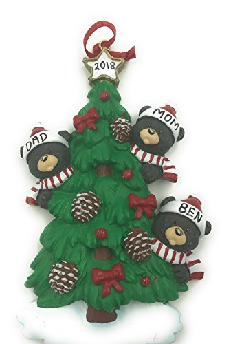 Personalized Family of 3 Bear on a Tree Christmas Ornament 2019