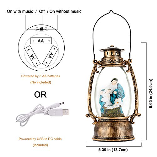 JEDAWN Christma Lantern, Christmas Lanterns Decorative Singing Musical Lighted Christmas Water Glittering Swirling Snow Globe Lantern for Christmas Home Decoration and Gift
