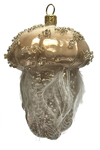 Pinnacle Peak Trading Company Brown Beaded Jellyfish with Feather Tentacles Polish Glass Christmas Ornament