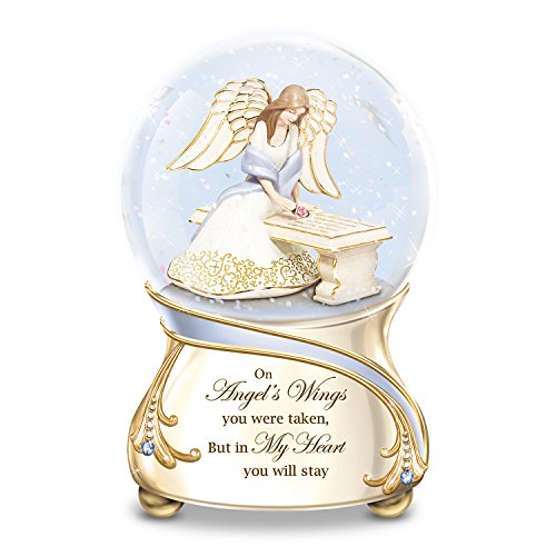 The Bradford Exchange Remembrance Porcelain Musical Glitter Globe with Angel and Swarovski Crystals