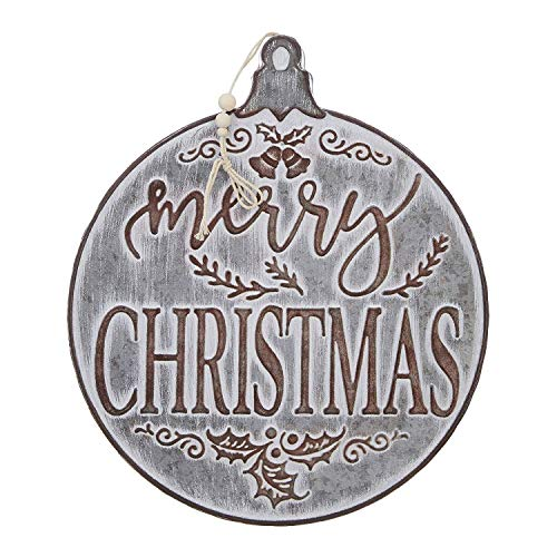 RAZ Imports Merry Christmas Ornament Galvanized Sign – 14.5 Inch