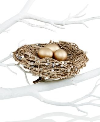 Holiday Lane Birds Nest Ornament – Gold