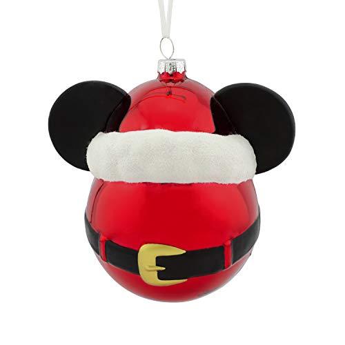 Hallmark Christmas Ornaments, Disney Mickey Mouse Icon With Santa Hat Blown Glass Ornament