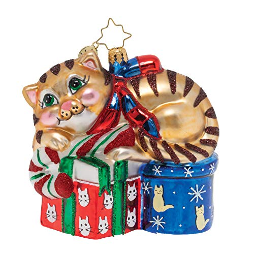 Dreaming of Christmas Kitten Rosy Red 5 x 4 Blown Glass Figurine Ornament