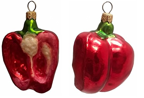 Pinnacle Peak Trading Company Half of a Red Bell Pepper Polish Glass Christmas Ornament Set of 2 Decorations