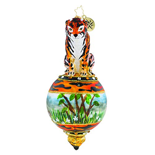 Christopher Radko Hand-Crafted European Glass Christmas Decorative Figural Ornament, Eye of The Tiger