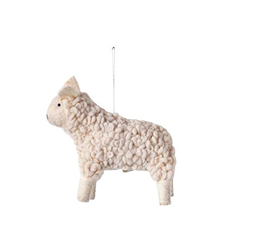 Creative Co-op Wool Sheep Textile Ornaments, White