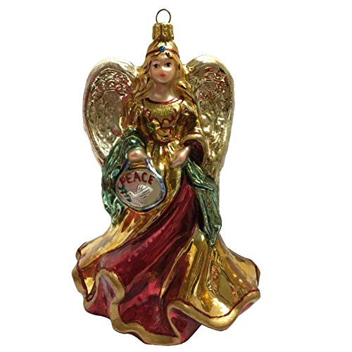 Pinnacle Peak Trading Company Burgundy and Gold Peace Angel with Dove Polish Glass Christmas Tree Ornament