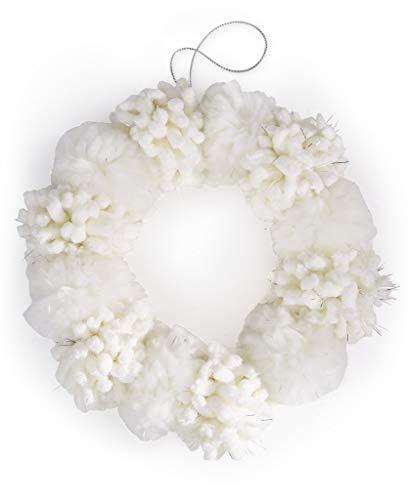 Holiday Lane 7-1/2-in Pom Pom Wreath Ornament, Winter White