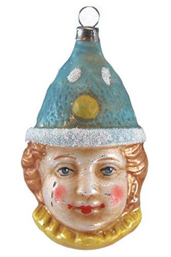 Marolin Clown with Blue Cap MA2011025 German Glass Ornament w/Gift Box