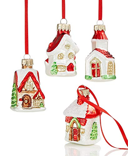 Holiday Lane Glitter Glass House Ornaments, Set of 4, Mini