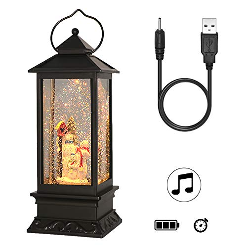 Wondise Snowman Lighted Musical Snow Globe Lantern with 6 Hour Timer, 12 Inches USB Powered and Battery Operated Swirling Water Glitter Christmas Snow Globe Lantern Gifts