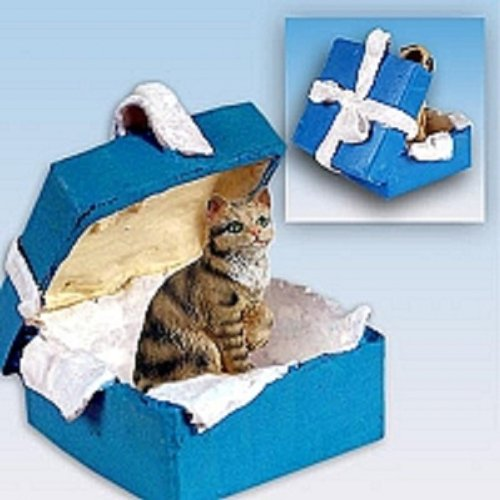 Conversation Concepts Brown Shorthaired Tabby Cat Gift Box Blue Ornament