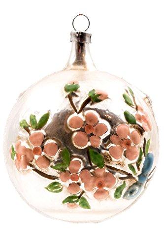 Marolin Ball with Flower Branch Glitter MA2011114 German Glass Ornament w/Gift Box