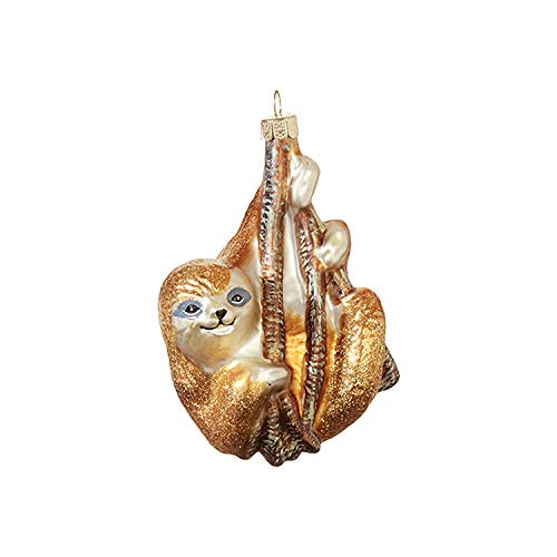 Raz 4.5″ Hanging Sloth Glass Christmas Ornament 3952981