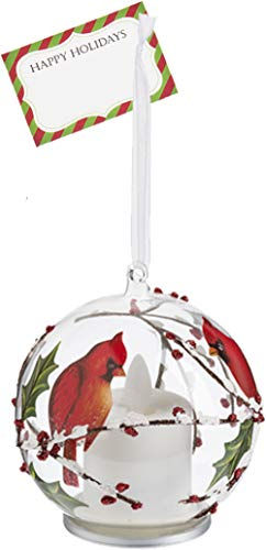 Ganz U.S.A., LLC Red Cardinals Snowy Branches LED Glass Bird Ornaments for Christmas Trees or Holiday Kitchen Decorations with Realistic Flame from LuxuryLite with Happy Card (Facing)