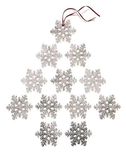 Holiday Lane Set Of 12 Silver Glitter Snowflake Ornaments