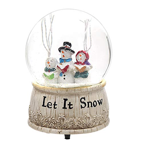 Topadorn Glass Musical Snow Globe Polystone Water Globe, Let It Snow