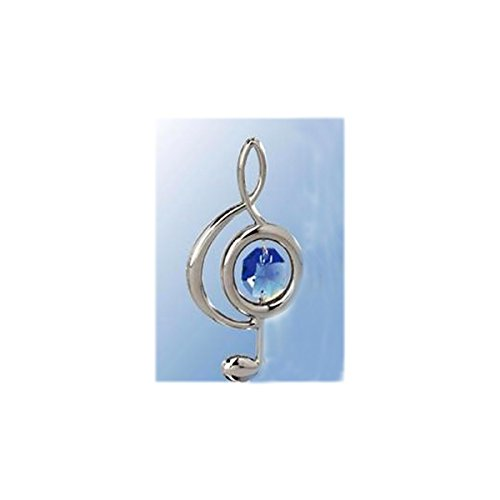 Chrome Plated Clef Note Hanging Sun Catcher or Ornament with Blue Swarovski Austrian Crystal