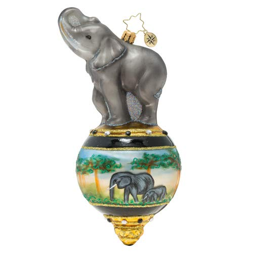 Christopher Radko Hand-Crafted European Glass Christmas Decorative Figural Ornament, Triumphant Elephant