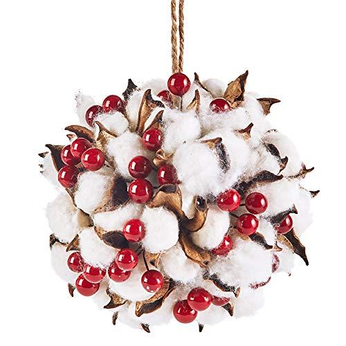 Raz 5″ Cotton and Berries Kissing Ball Ornament Christmas Decor