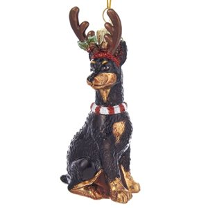 Kurt Adler 4″NOBLE GEMS GLASS DOBERMAN ORN