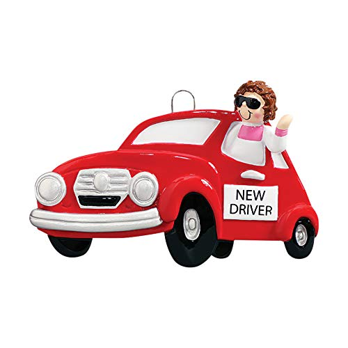 Personalized New Driver Girl Christmas Tree Ornament 2019 – Cool Brunette Woman Shades ID Red Car Plate Key-Chain Grand-Daughter Fun Female Friend Teen Holiday Motor Gift Year – Free Customization