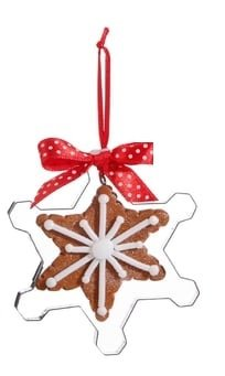 RAZ Gingerbread Snowflake Cookie in Cookie Cutter Ornament