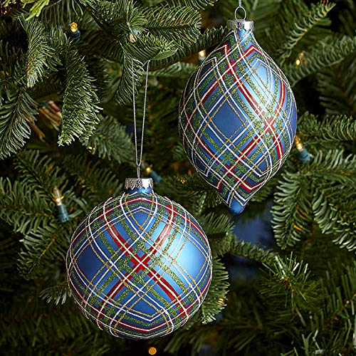 Set of 2 Raz 4.75″ Blue Plaid Glittered Glass Christmas Ornament 3924606