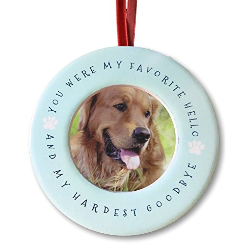 BANBERRY DESIGNS Pet Memorial Christmas Ornament – Your were My Favorite Hello and My Hardest Goodbye – Ceramic Picture Ornament and/or Small Desktop Frame – Sympathy Condolence Dog Cat
