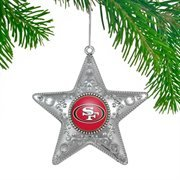 NFL San Francisco 49ers 4.5 Silver Star Ornament