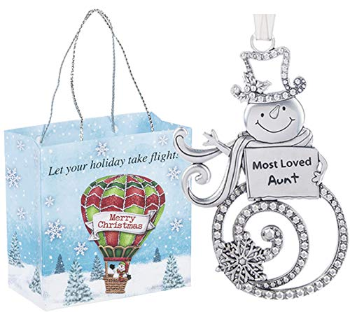 Ganz U.S.A., LLC Most Loved Aunt Swirls of Christmas Snowman Ornaments 2 Sided for Holiday Christmas Tree Decor Aunt Gifts from Kids 2019 Presented in a Holiday Bag with a Snowman