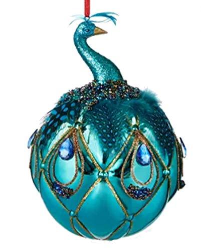 Holiday Lane Joyeux Noel Blue Peacock Ball Ornament
