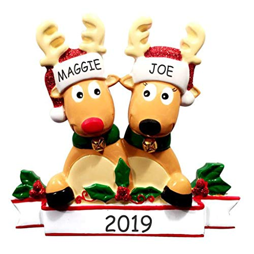 DIBSIES Personalization Station Personalized Cozy Reindeer Family Christmas Ornament (Reindeer Couple)