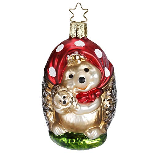 Inge-Glas Mama Hedgehog 10018S018 German Blown Glass Christmas Ornament