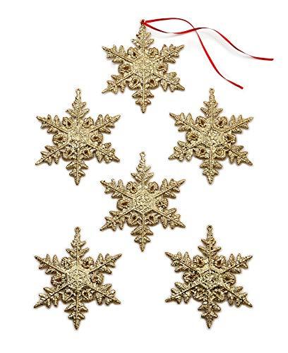 Holiday Lane Set of 6 Gold Snowflake Ornaments